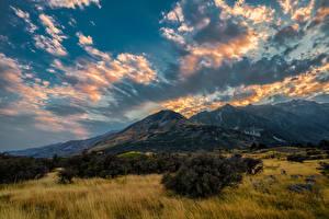 Фотографии Новая Зеландия Парк Горы Небо Облако Aoraki National Park Природа