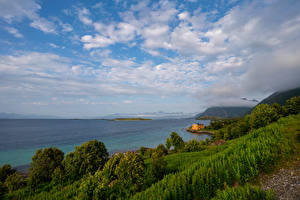 Картинка Норвегия Побережье Гора Лофотенские острова Облака Природа