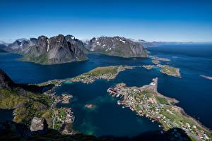 Картинка Норвегия Лофотенские острова Гора Сверху Reine Природа
