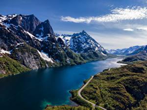 Фото Норвегия Лофотенские острова Гора Дороги Снеге Sløverfjorden