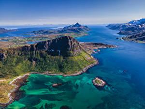 Картинки Норвегия Лофотенские острова Горы Море Сверху Природа