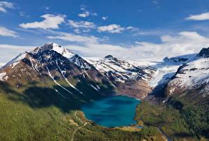 Фото Норвегия Горы Озеро Снега Облако Svartisvatnet Природа