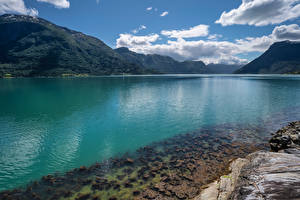 Фото Норвегия Гора Облачно Lustrafjorden, fjord Природа