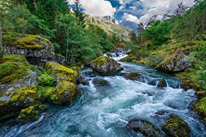 Фото Норвегия Гора Парк Реки Камни Мха Folgefonna National Park