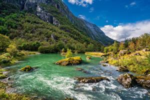 Фото Норвегия Гора Парки Речка Камни Деревьев Folgefonna National Park Природа