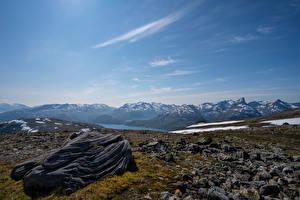 Фотография Норвегия Гора Камни Небо Tromsø