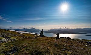 Фотография Норвегия Камень Небо Луга Солнца Tromsø