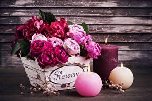 Фото Роза Букет Свечи Ваза Слово - Надпись Английский Цветы