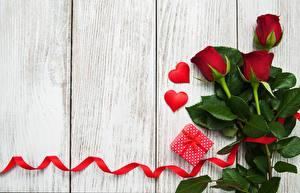 Обои Розы День всех влюблённых Доски Лента Сердечко Шаблон поздравительной открытки