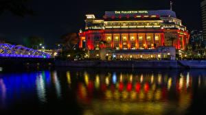 Фотографии Сингапур Дома Реки Мост Ночные Гостиницы Raffles Place Города