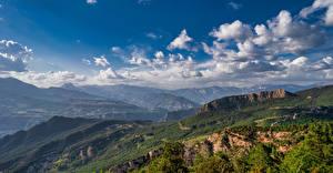 Фото Испания Гора Пейзаж Небо Панорама Облака La Nou, Catalonia Природа