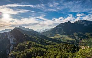 Фотографии Испания Горы Небо Облака Деревья Berga, Catalonia Природа