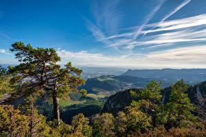 Фотография Испания Горы Небо Деревьев Облако Berga, Catalonia Природа