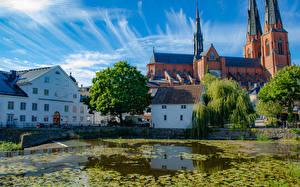 Фото Швеция Здания Храмы Церковь Пруд Uppsala