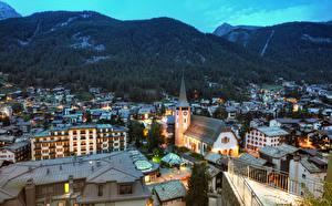 Фотографии Швейцария Гора Здания Вечер Zermatt, Canton Valais Города