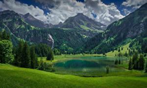 Фотографии Швейцария Горы Озеро Пейзаж Альп Ель Lauenen, Bern Природа