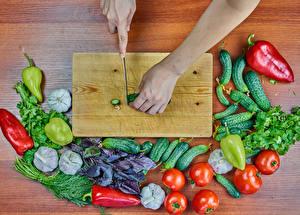 Фотография Овощи Перец Чеснок Укроп Томаты Огурцы Нож Разделочной доске Руки