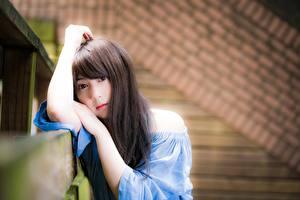Фото Азиатки Размытый фон Шатенки Взгляд Рука молодая женщина