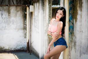 Фотографии Азиаты Боке Поза Брюнетки Смотрят Рука Шортах молодые женщины