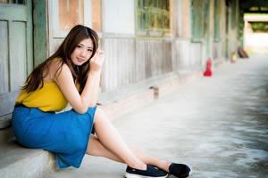 Фотография Азиатка Шатенка Боке Юбке Сидящие Руки Ноги девушка
