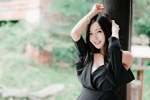 Картинки Азиатки Брюнеток Размытый фон Взгляд Улыбается Руки молодые женщины