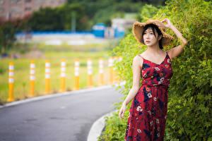 Фотографии Азиатки Брюнетка Платья Шляпе Взгляд Размытый фон молодые женщины