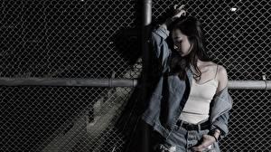 Картинка Азиатки Позирует Брюнетки Куртках Рука молодые женщины
