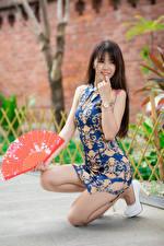 Фото Азиатки Позирует Ноги Платья Веер Боке девушка