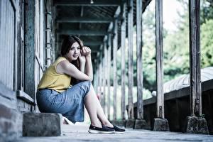 Фотографии Азиаты Сидя Размытый фон Юбки девушка