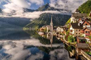 Фотография Австрия Халльштатт Гора Озеро Дома Облако Города