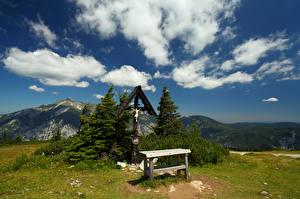 Фотография Австрия Гора Облачно Крест Gatterlkreuz Природа