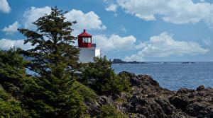 Обои Канада Маяк Скала Дерево Облачно Ucluelet Природа