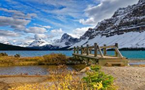 Обои Канада Парк Гора Озеро Мосты Банф Снега Природа