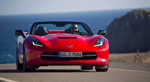 Картинки Шевроле Спереди Красный Кабриолет Corvette, Stingray Convertible, EU-spec, 2013 Автомобили