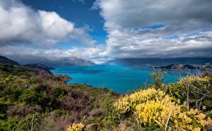 Обои для рабочего стола Чили Горы Озеро Облака Lago Gral Carrera Природа