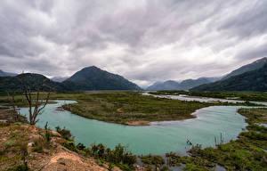 Фото Чили Горы Реки Облака Patagonia Природа