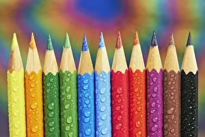 Фотографии Вблизи Карандашей Капля Разноцветные Tom Pavlasek