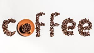 Обои Кофе Зерна Чашке Сером фоне Еда