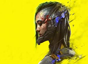 Фотография Cyberpunk Цветной фон Голова Фантастика Девушки