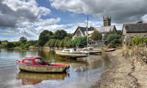 Картинка Англия Здания Побережье Катера Лодки HDRI River Tavy at Bere Ferrers Devon Природа Города