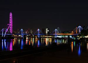 Обои Англия Речка Мост Лондон Ночь Thames Города