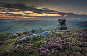 Обои Англия Камни Вечер Холмы Облака Peak District Природа картинки