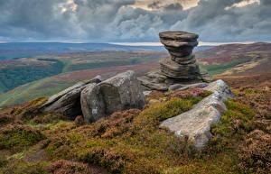 Фото Англия Камни Холмов Облака Peak District Природа