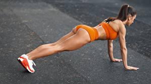 Обои Фитнес Планка упражнение Ног Ягодицы спортивный Девушки