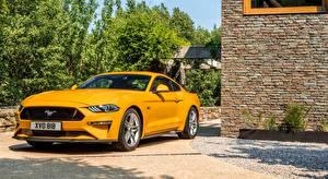 Картинка Ford Седан Желтый Mustang, GT Fastback, EU-spec, 2017 Автомобили