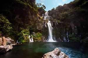 Картинка Франция Водопады Утес Bassin des Aigrettes Природа