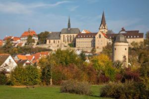 Картинки Германия Осень Здания Деревьев Warburg Города