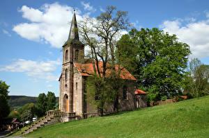 Фотография Германия Церковь Башни Дерева Bornhagen, Ev. Kirche Города