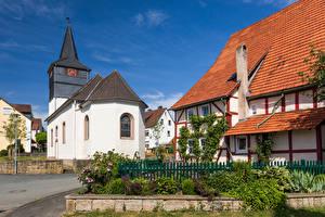 Обои Германия Церковь Часы Здания Башни Улице Lamerden Города