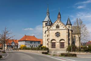 Обои Германия Церковь Дома Башни Улиц Ossendorf